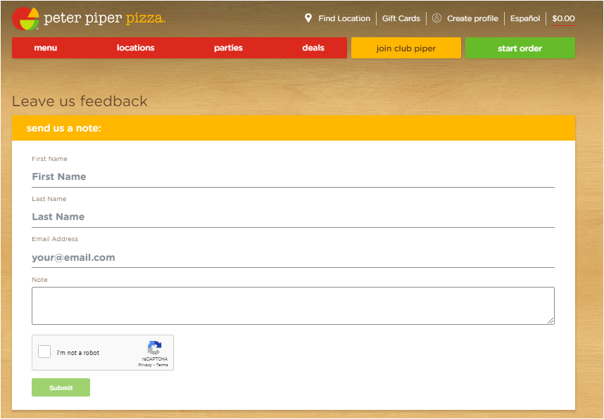 www.PeterPiperPizza.com /Feedback Peter Piper Pizza Survey