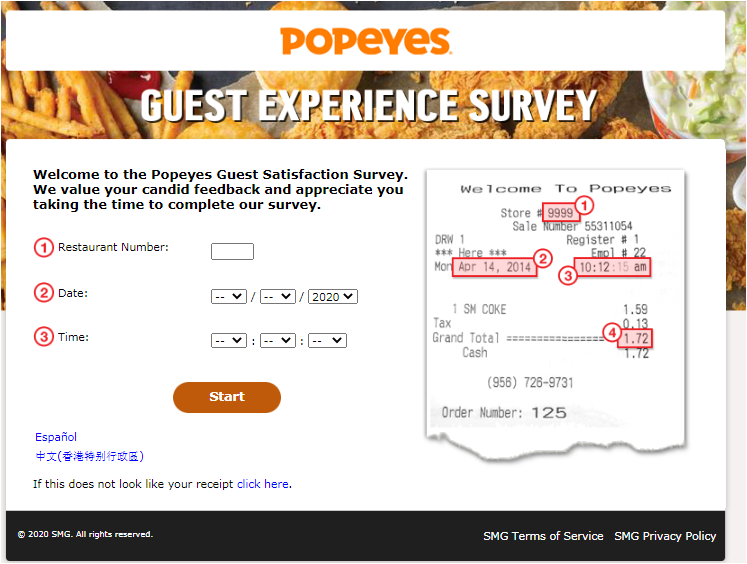 Popeyes Canada Customer Experience Survey