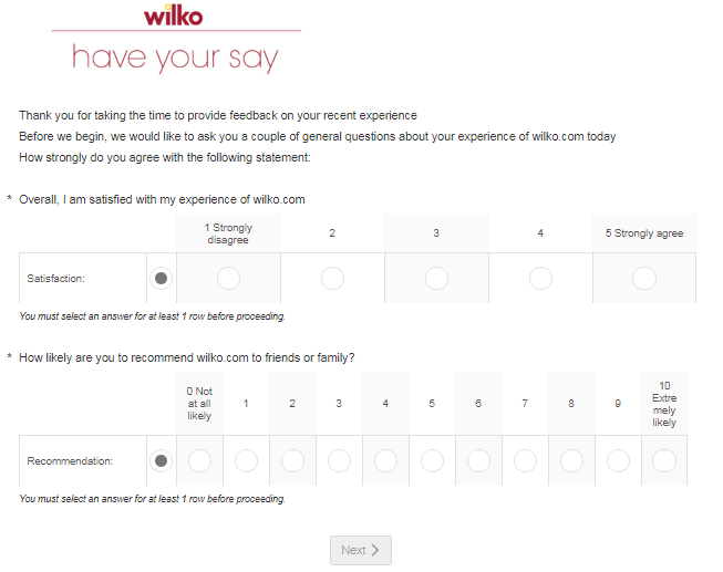 Wilko Customer Experience Survey