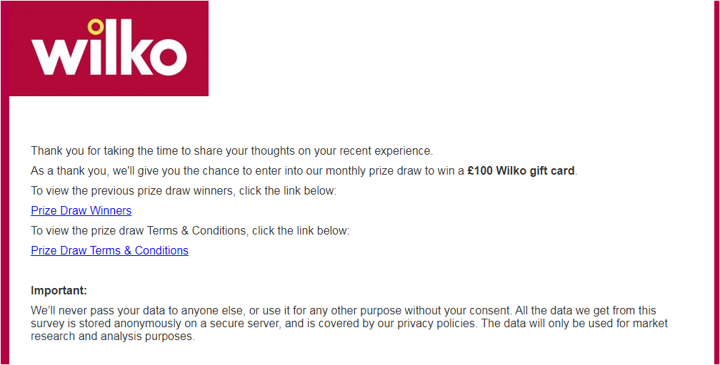 WilkoHaveYourSay Customer Feedback Survey