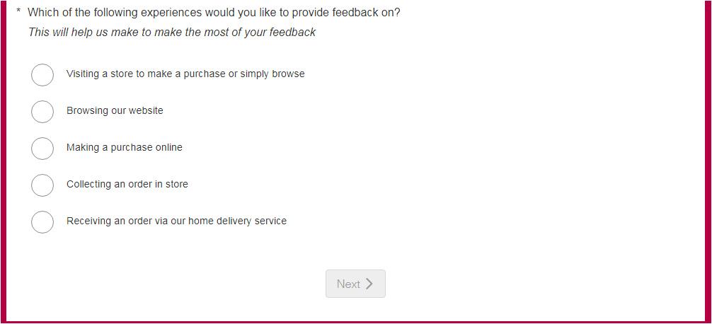 Wilko Guest Satisfaction Survey